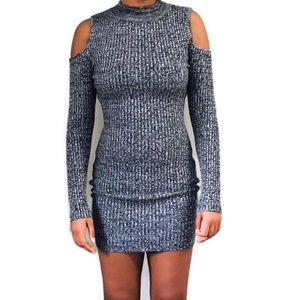 Say What Knit Cold Shoulder Gray Bodycon Dress M